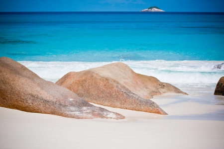 Beach at Seychelles - vacation background  Stock Photo