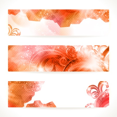 Set of red abstract banners. Illustration
