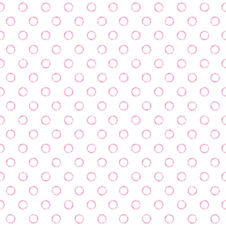 Seamless pattern with pink circles on wight background. Illustration