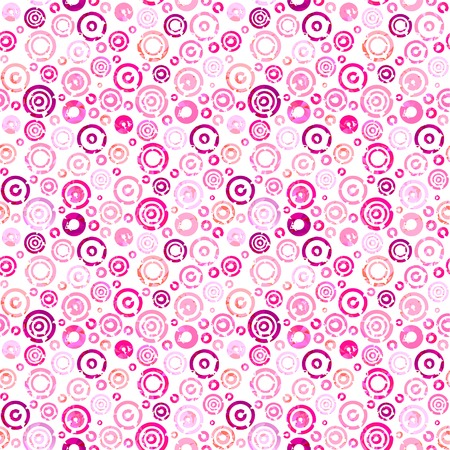 Seamless pattern with pink circles on wight background. Vector