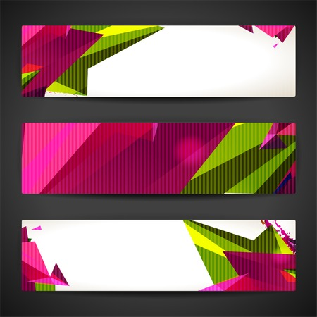 Set of bright polygonal geometric backgrounds for modern design Vector