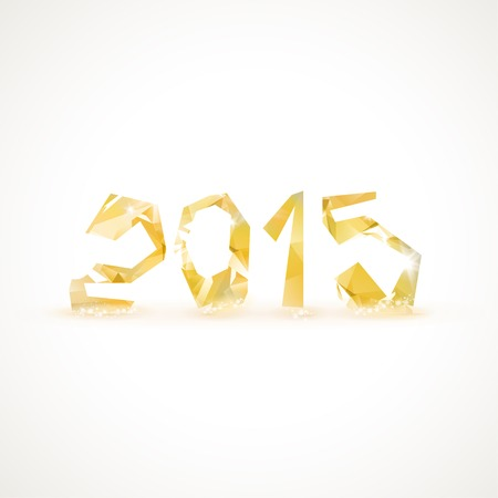 Happy New Year 2015 colorful greeting card made in polygonal origami style.