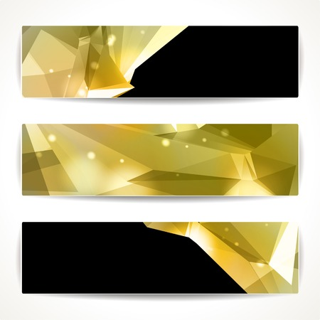 header label: Set of bright polygonal geometric backgrounds for modern design