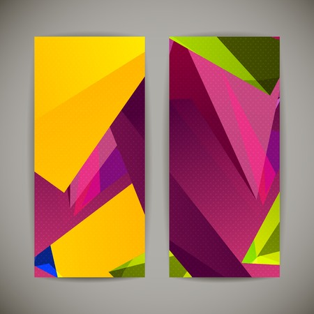 Set of bright polygonal geometric backgrounds for modern design