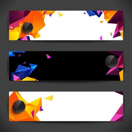 Set of bright polygonal geometric backgrounds for modern design