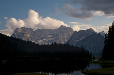 lake misurina: Lake Misurina and mount Sorapiss at sunset, blue sky with clouds, Trentino, Dolomites, Italy