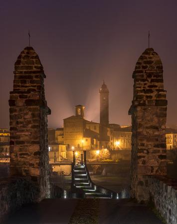 emilia: The town of Bobbio by night, Emilia Romagna, Italy Stock Photo