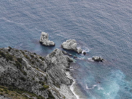 np: Aerial view of the Two Sisters reef at sunrise, Mount Conero NP, Marche, Italy