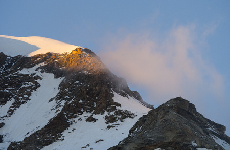 pyramid peak: Vincent Pyramid Peak at sunset, Monte Rosa, Alps, Italy