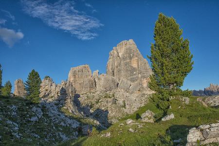 torri: Cinque Torri mountain range in summer, blue sky, Dolomites, Veneto, Italy Stock Photo