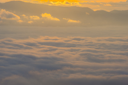 apennines: Sunrise over the clouds, mount Cucco, Umbria, Apennines, Italy Stock Photo