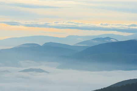 apennines: Silhouette of mountains at sunrise, Apennines, Umbria, Italy