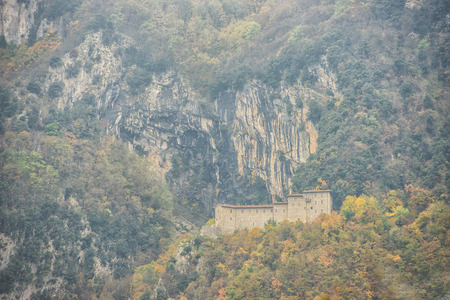 np: S. Girolamo hermitage in the woods in Autumn, Monte Cucco NP, Appennines, Umbria, Italy