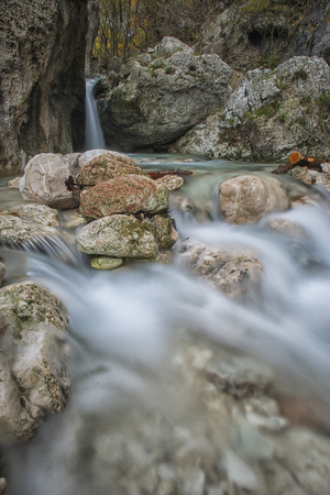 np: Waterfall in the rocks in the mountains, Monte Cucco NP, Appennines, Umbria, Italy