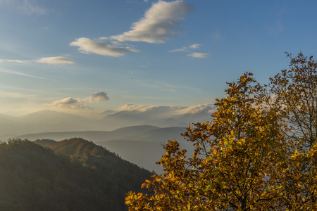 apennines: Sunrise on Apennines in Autumn, mount Strega, Marche, Italy Stock Photo