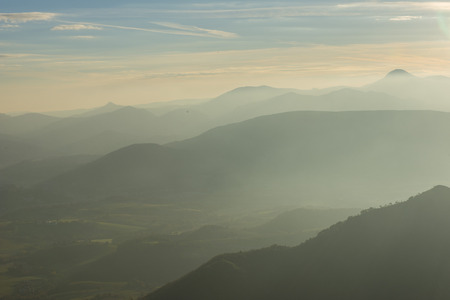 apennines: Sunrise on Apennines with fog, blue sky with clouds, Marche, Italy Stock Photo