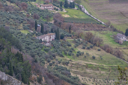 wineyard: Aerial view of a house in the wineyard in the country, Gubbio, Apennines, Umbria, Italy