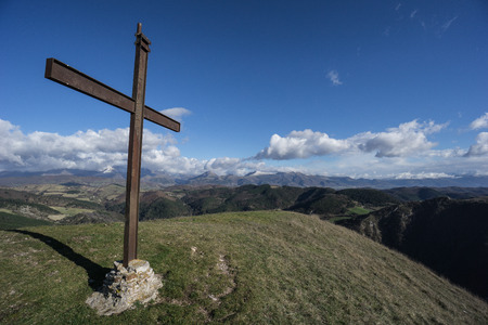 apennines: Cross Summit on mount Foce, Apennines, Umbria, Italy