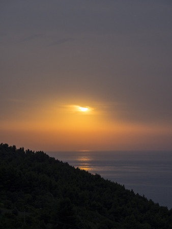 np: Sunset on the sea, Conero NP, Marche, Italy Stock Photo