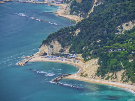 np: Aerial view of the beach Urbani near the town of Numana, Conero NP, Marche, Italy