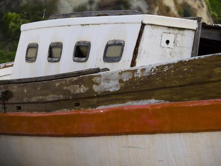marche: Old boat at the harbor, Numana, Conero, Marche, Italy