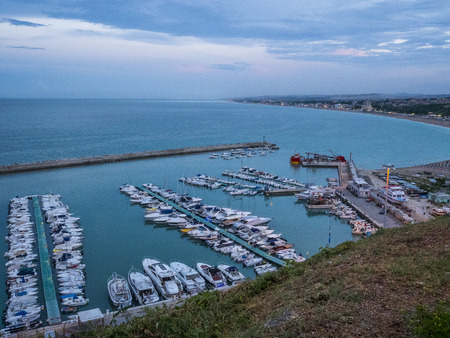 marché: Boats at the harbor of the town of Numana, Conero, Marche, Italy Stockfoto