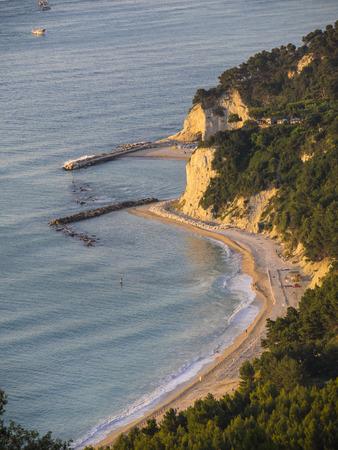 marche: Aerial view of the beach Urbani, Numana, Conero, Marche, Italy