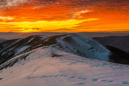 apennines: Sunset on mount Nerone in Winter, Apennines, Marche, Italy Stock Photo