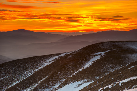 marché: Sunset on mount Nerone in Winter, Apennines, Marche, Italy Stockfoto