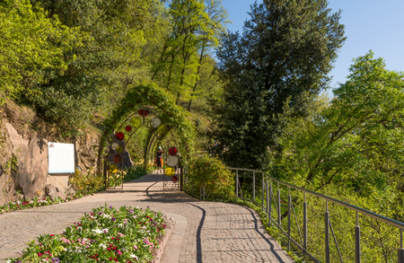 The Botanic Gardens of Trauttmansdorff Castle, Merano, south tyrol, Italy, offer many attractions with botanical species and varieties of plants from all over the world. Stock Photo