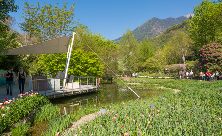 The Botanic Gardens of Trauttmansdorff Castle, Merano, south tyrol, Italy, offer many attractions with botanical species and varieties of plants from all over the world. Editorial