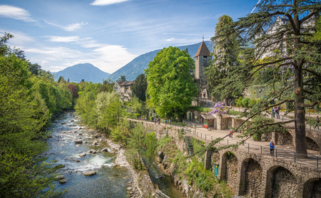 The most beautiful promenade in Merano is, however, the Tappeiner Trail, crossing the sunny south side of the Küchelberg. It is named after its initiator, the Merano spa physician Franz Tappeiner. Stock Photo