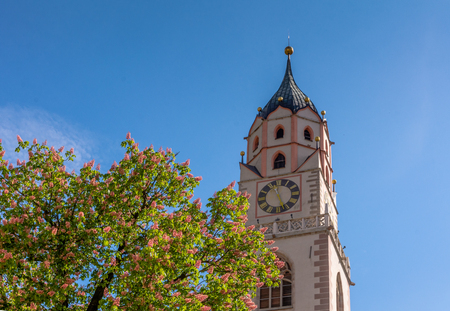 Bell Tower of the Cathedral of Merano - Italy  Detail of the bell tower of the Cathedral of St. - Nicholas in Merano, Bolzano, south Tyrol, Italy