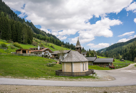 Racines Valley in South Tyrol, Italy. little church to Flading