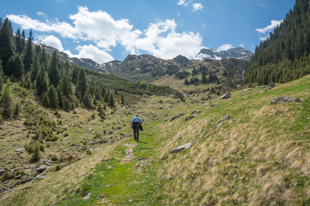 Racines Valley in South Tyrol, Italy. Journey to the top of mountain