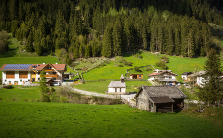 scenary: Racines Valley in South Tyrol, Italy. Small tourist village
