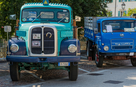 privat: Trento, Italy: july 22, 2017: meeting of classic cars. Old vintage truck on the parking. Vintage effect.