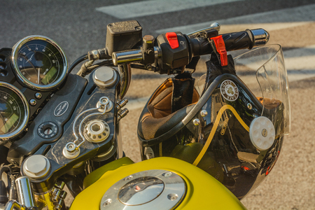 Trento, July 22, 2017: Show classic american motorcycles. Motorcycle parts details. Vintage filter effect