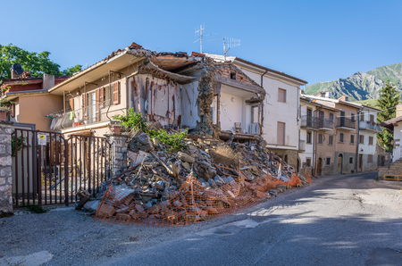 Rubble of the earthquake that struck the town of Amatrice in the Lazio region of Italy. The strong earthquake took place on August 24, 2016.