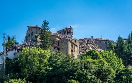 Arquata del Trontos medieval village destroyed by the earthquake of august 24, 2016 in Italy.