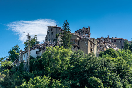 chronicle: Arquata del Trontos medieval village destroyed by the earthquake of august 24, 2016 in Italy.