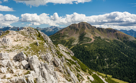Amazing mountains summer landscape in Dolomites, South Tyrol, Italy. White Peak and Black Peak in the Oclini Pass, northern Italy. Stock Photo