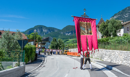 Cortaccia in South Tyrol, Italy, june 26, 2017: Traditional religious procession to celebrate the corpus christi.