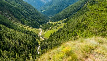 waterfall mountain landscape. Rabbi Valley, Trentino Alto Adige, northern Italy Stock Photo