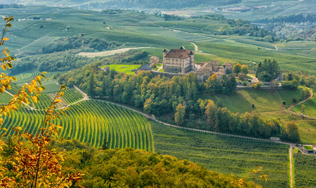 autumnal landscape of Castel Thun, located in the commune of Ton in the lower Val di Non, Trentino Alto Adige, northern Italy