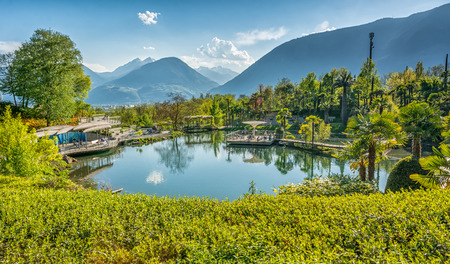 Meran, april 9 2017 :the Botanic Gardens of Trauttmansdorff Castle, Merano, south tyrol, Italy, offer many attractions with botanical species and varieties of plants from all over the world.