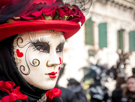 Carnival mask in Venice. The Carnival of Venice is a annual festival held in Venice, Italy. The festival is word famous for its elaborate masks. Stock Photo