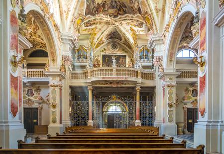 Bolzano, Varna in South Tyrol, Italy, may 25, 2017: interior of the Augustinian Canons Regular monastery Abbazia di Novacella localed in Varna, Bolzano in South Tyrol, northern Italy