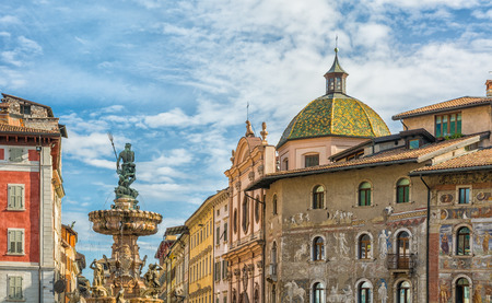 The baroque Fountain of Neptune at Piazza del Duomo in the center of the city of Trento in the region of Trentino Alto Adige, South Tyrol