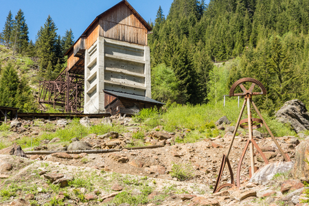 Ridnaun Valley in South Tyrol,Italy-may 27,2017:view of Ridanna Valley from the visitor center of Masseria.Place where for centuries have been processed minerals dug above the mining town of Monteneve